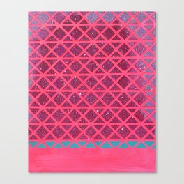 Pink with Pink Glitter Fade + Turquoise  Canvas Print