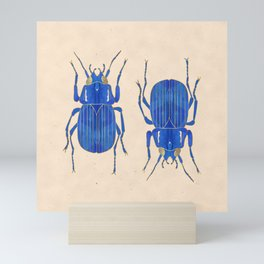 Beetle - Indigo and Gold Mini Art Print