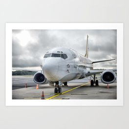 The plane at the airport on road Art Print
