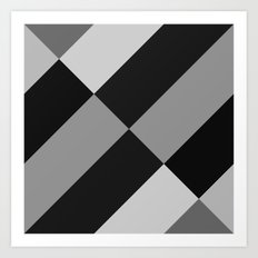 Angled Black and Gray Gradient Art Print