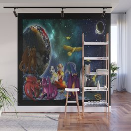 Dragonlings Space Party Wall Mural