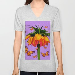 LILAC YELLOW MONARCH BUTTERFLIES CROWN IMPERIAL Unisex V-Neck