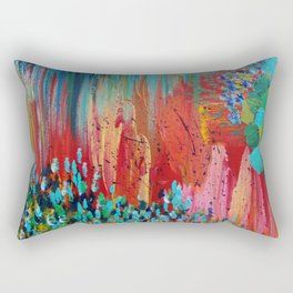 REVISIONED RETRO - Bright Bold Red Abstract Acrylic Colorful Painting 70s Vintage Style Hip 2012 Rectangular Pillow