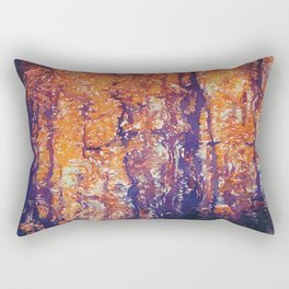 Autumn Woods Painterly Abstract Water Color FX Rectangular Pillow