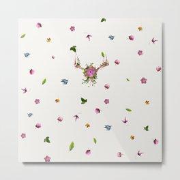 Floral Antlers Metal Print