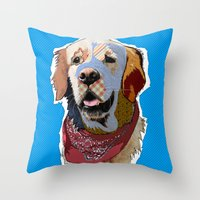 golden retriever Throw Pillows featuring Golden Retriever  by TiannaHarman