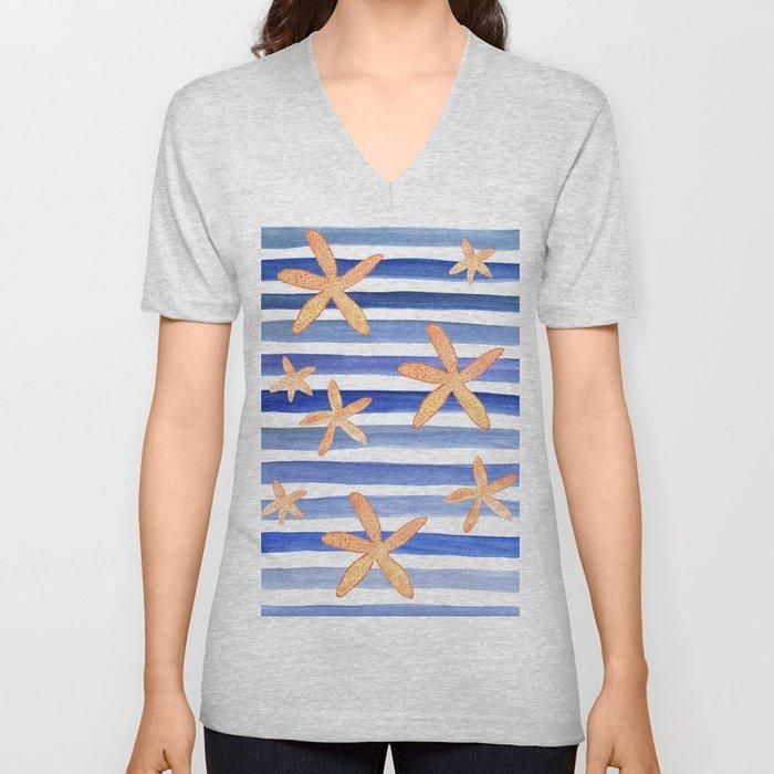 Starfish on blue stripes watercolor design Unisex V-Neck