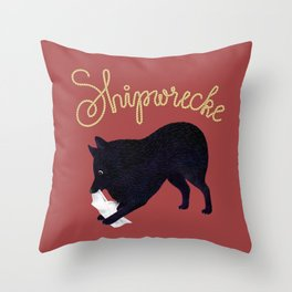 Shipwrecke (Red and Beige) Throw Pillow