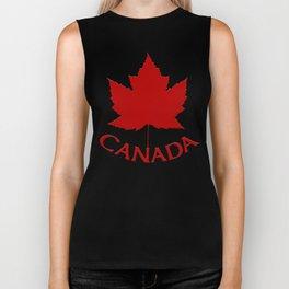 Cute Canada Flag Pattern Biker Tank