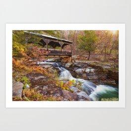 Autumn Sunrise at the Ponca Covered Bridge Falls Art Print