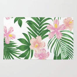 Summer tropical modern blush pink coral green floral Rug
