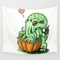 cthulhu Wall Tapestries featuring Baby Cthulhu by Paige Holloway