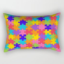 Multicolored Jigsaw Puzzle Rectangular Pillow