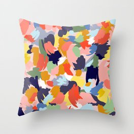 Bright Paint Blobs Throw Pillow