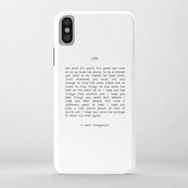 Life quote F. Scott Fitzgerald iPhone Case