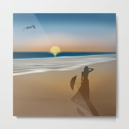Romantic beach walk Metal Print