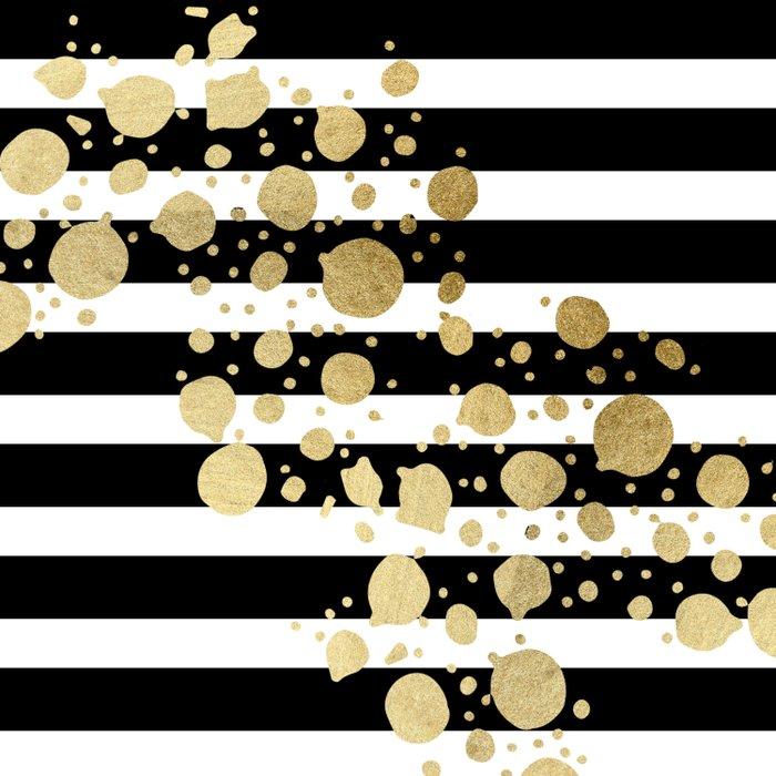 Faux Gold Paint Splatter On Black Amp White Stripes Duvet