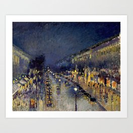 Camille Pissarro - Boulevard Montmartre at Night Art Print