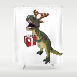 Christmas Trex holding present Shower Curtain