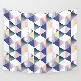 Watercolor geometric pastel colored seamless pattern Wall Tapestry