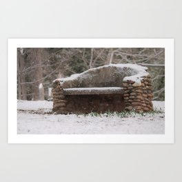 Snow Covered Bench Photography Art Print