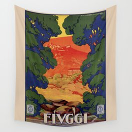 Vintage Italian travel Fiuggi springs Wall Tapestry