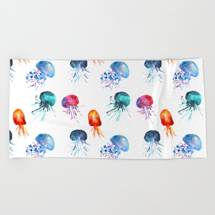happy jellyfish Beach Towel