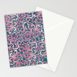 Pink on Green - Paisley Stationery Cards