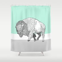 bison Shower Curtains featuring Bison by Annie Bailey Art