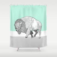 bison Shower Curtains featuring Bison by Annie Bailey Art