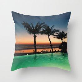 Bali Orange Sunset Throw Pillow