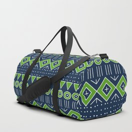 Mudcloth Style 2 in Navy with Lime Green Duffle Bag