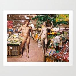 Adam & Eve Shopping Art Print