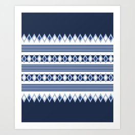 Blue stripes and diamonds pattern Art Print