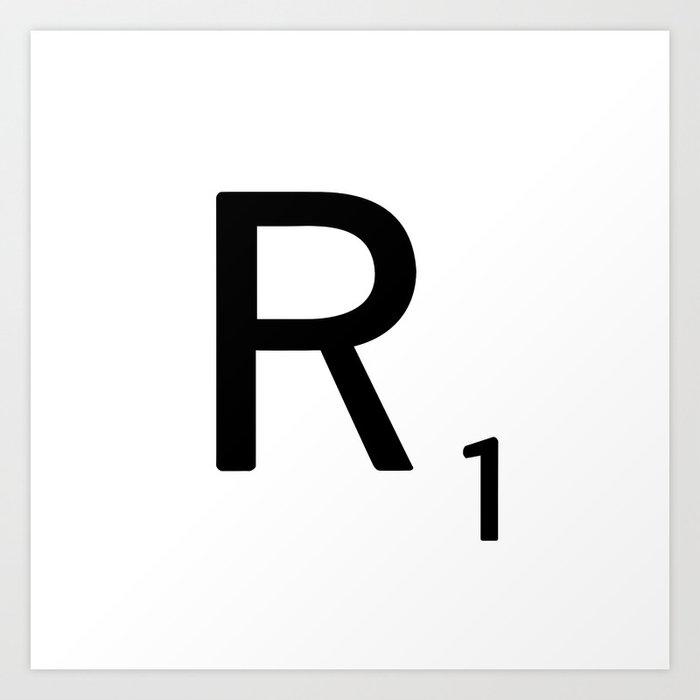 letter r custom scrabble letter tile art scrabble r initial art