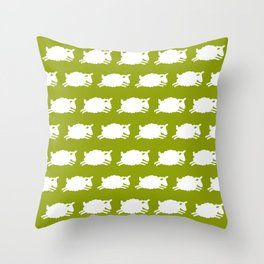 Counting Sheep. White on Green. Throw Pillow