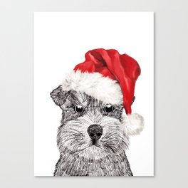 Christmas Schnauzer Canvas Print