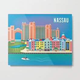 Nassau, Bahamas - Skyline Illustration by Loose Petals Metal Print
