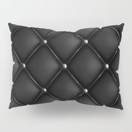 Black Quilted Leather Kissenbezug