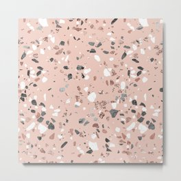 Pink Quartz and Marble Terrazzo Metal Print