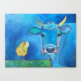 Blue Cow Yellow Hen Canvas Print