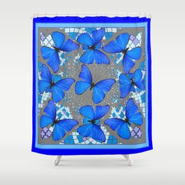 Decorative Blue Shades Butterfly Grey Pattern Art Shower Curtain