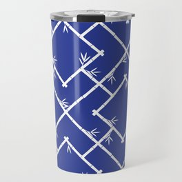 Bamboo Chinoiserie Lattice in Blue + White Travel Mug