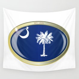 South Carolina State Flag Oval Button Wall Tapestry
