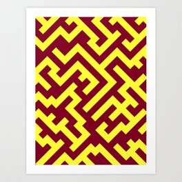 Electric Yellow and Burgundy Red Diagonal Labyrinth Art Print