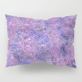 Purple and faux silver swirls doodles Pillow Sham
