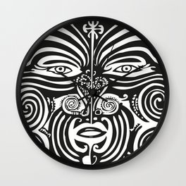 Maori Moko | Tribal Tattoo | New Zealand | Black and White Wall Clock