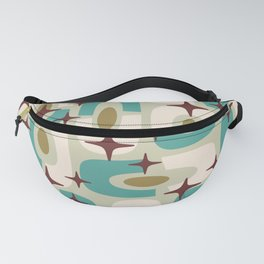 Mid Century Modern Cosmic Abstract 144 Turquoise Gold Brown and Beige Fanny Pack