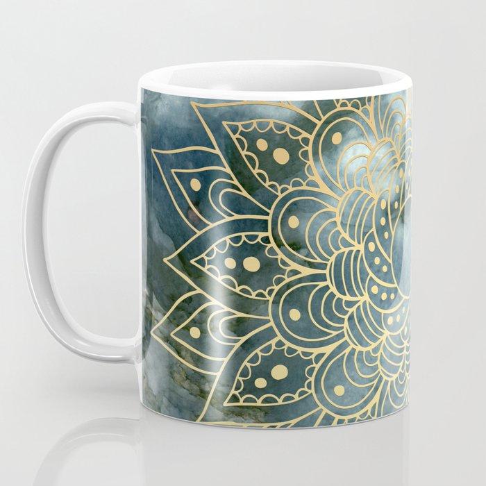 MANDALA ON BLUE MARBLE Coffee Mug