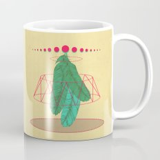 blugreenish circled feathers Mug